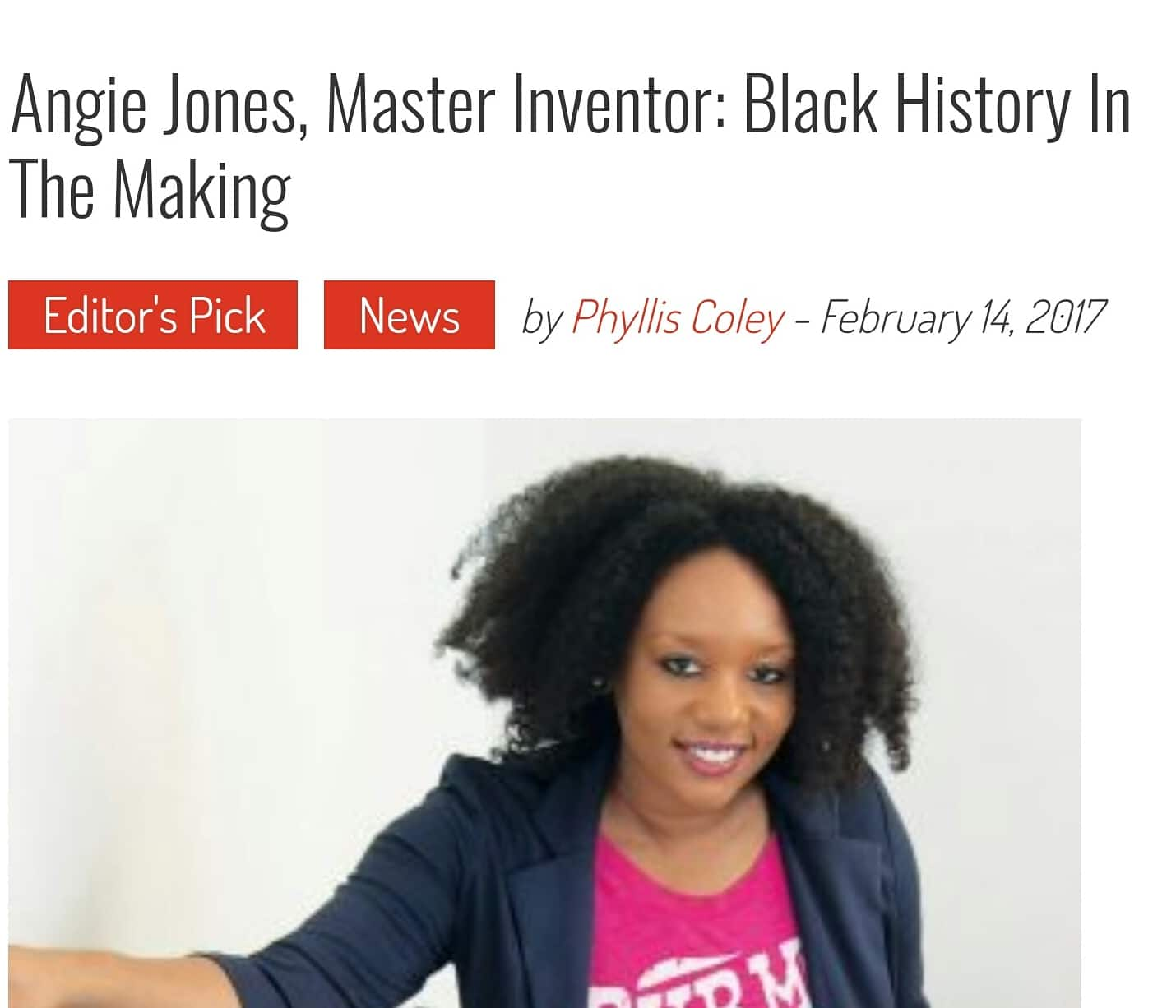 Angie Jones, Master Inventor, Black History in the Making